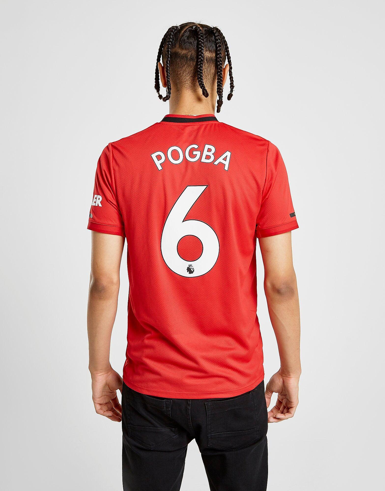 Image of Adidas Manchester United FC 2019/20 Pogba #6 Home Shirt - Mens, Punainen