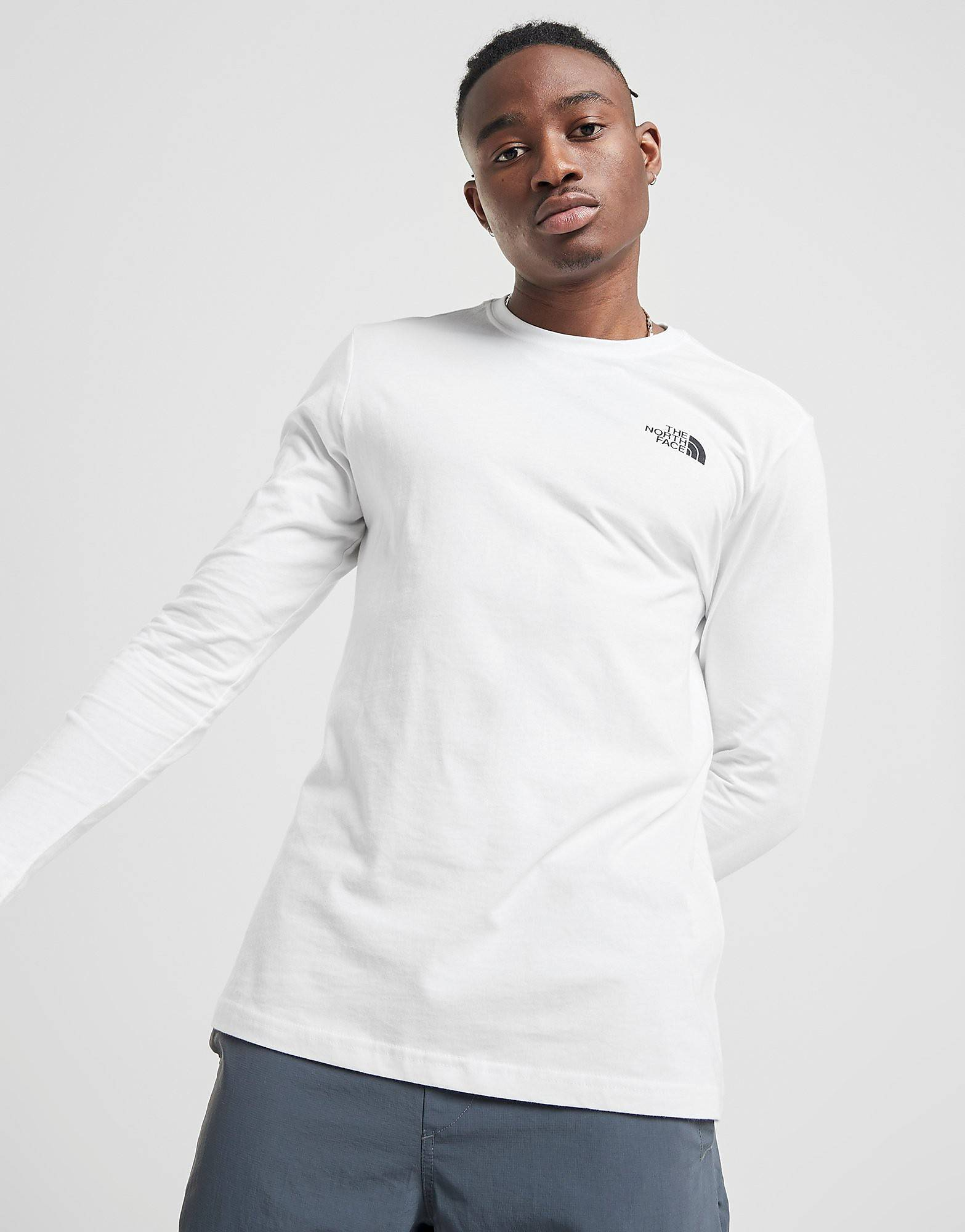Image of The North Face Long Sleeve All Over Print Redbox T-Shirt - Only at JD - Mens, Valkoinen