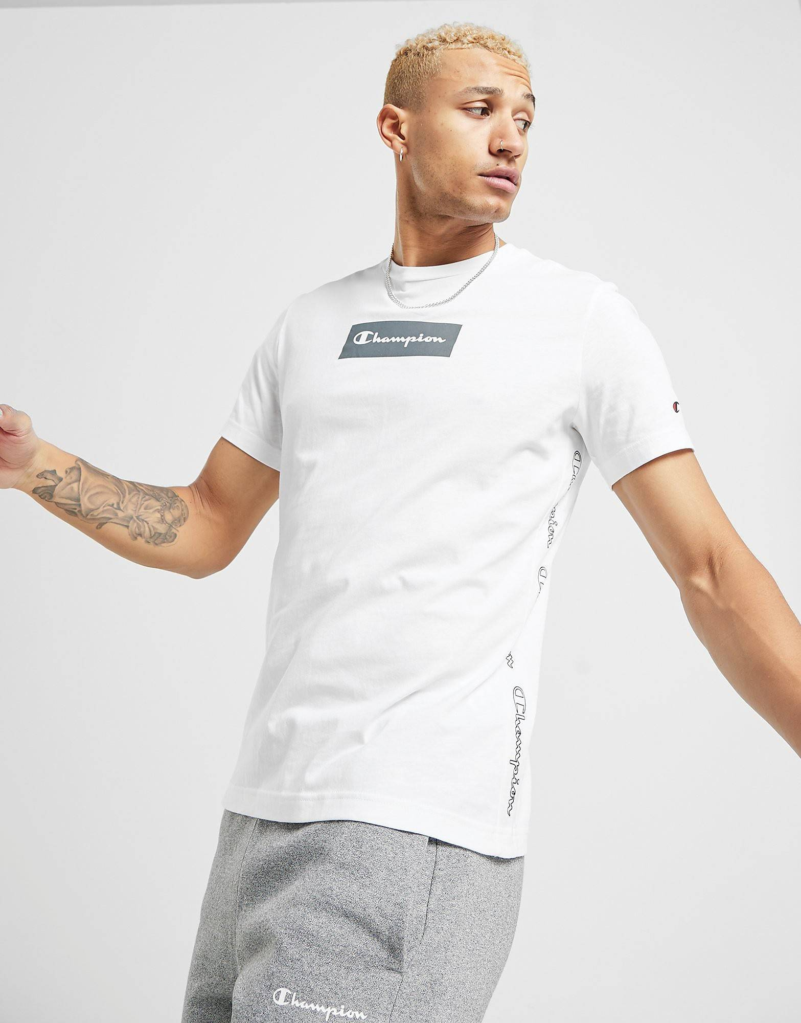 Image of Champion Tape T-Shirt - Only at JD - Mens, Valkoinen