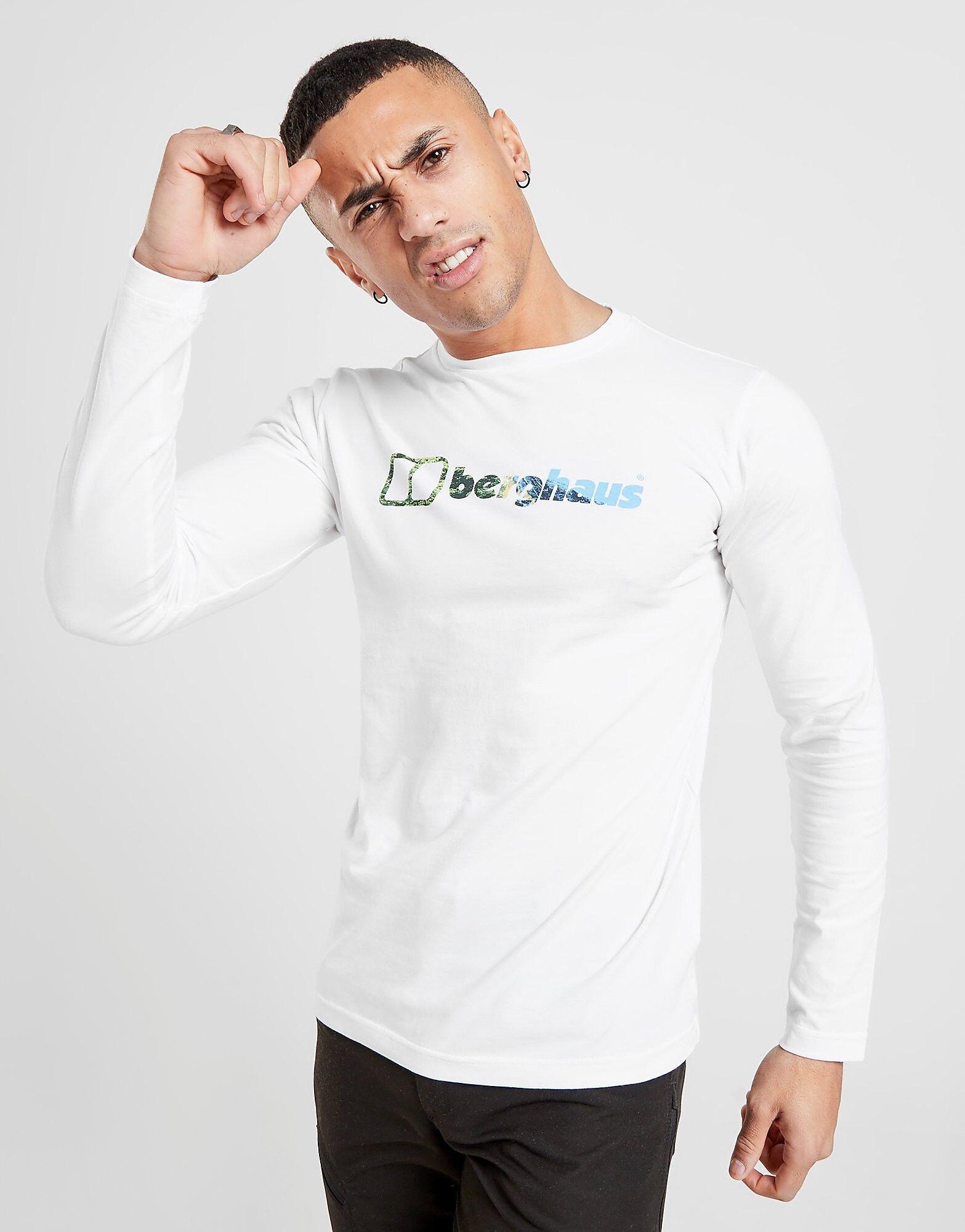 Image of Berghaus Long Sleeve Large Infil Logo T-Shirt - Only at JD - Mens, Valkoinen