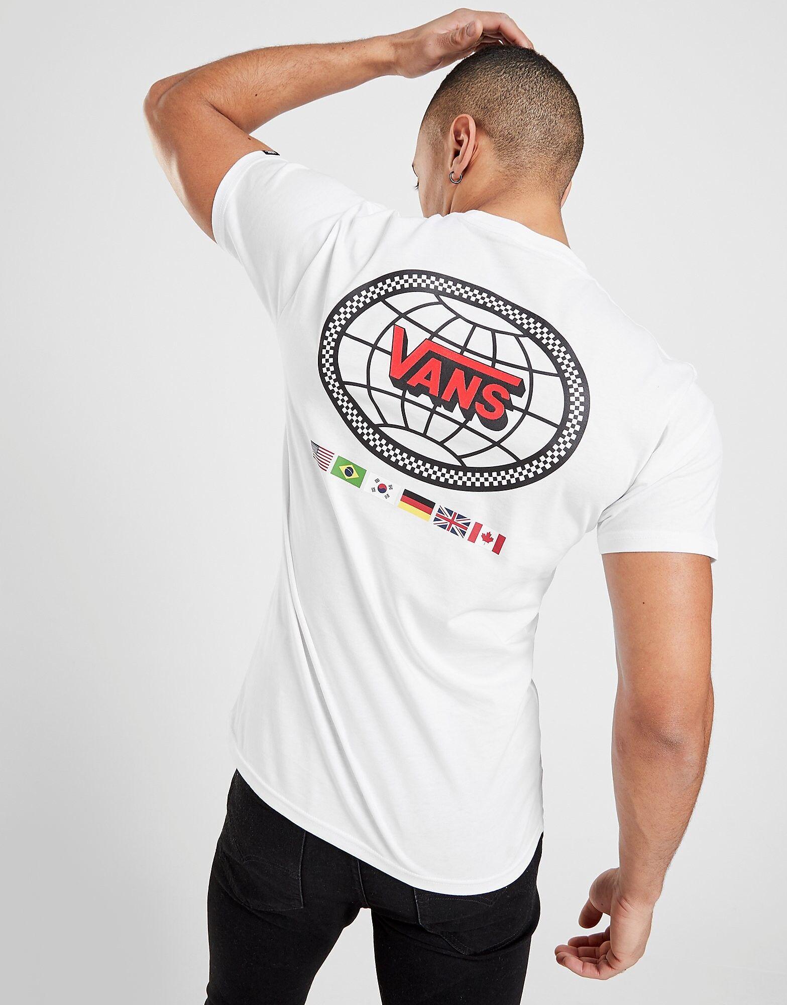 Image of Vans Short Sleeve Globe Flag T-Shirt - Only at JD - Mens, Valkoinen