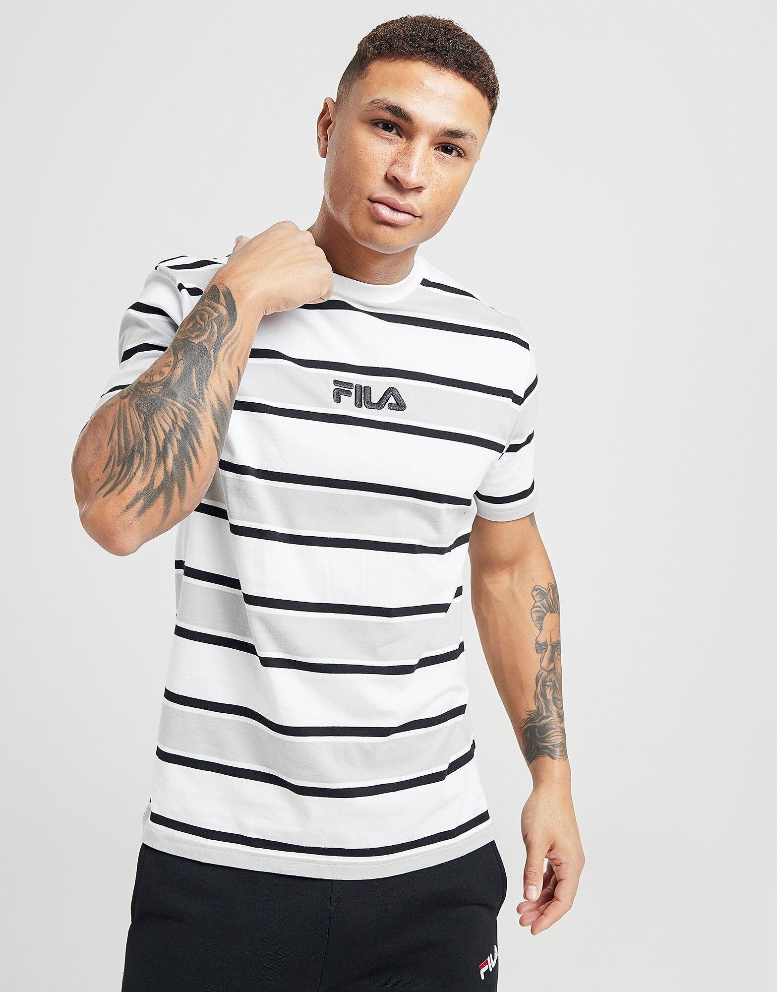 Image of Fila Ken Stripe T-Shirt - Only at JD - Mens, Valkoinen