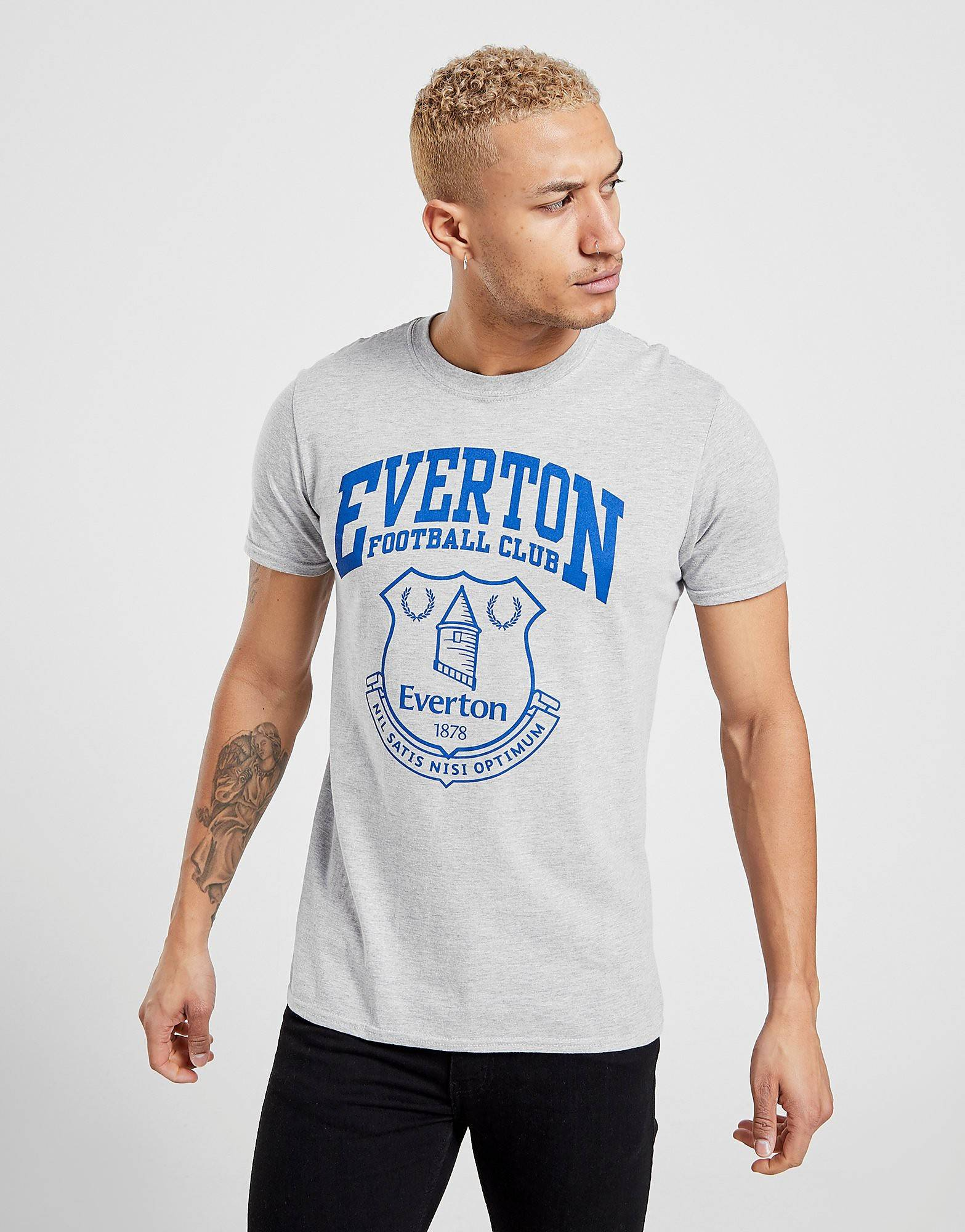 Official Team Everton F.C Crest -t-paita Miehet - Mens, Harmaa