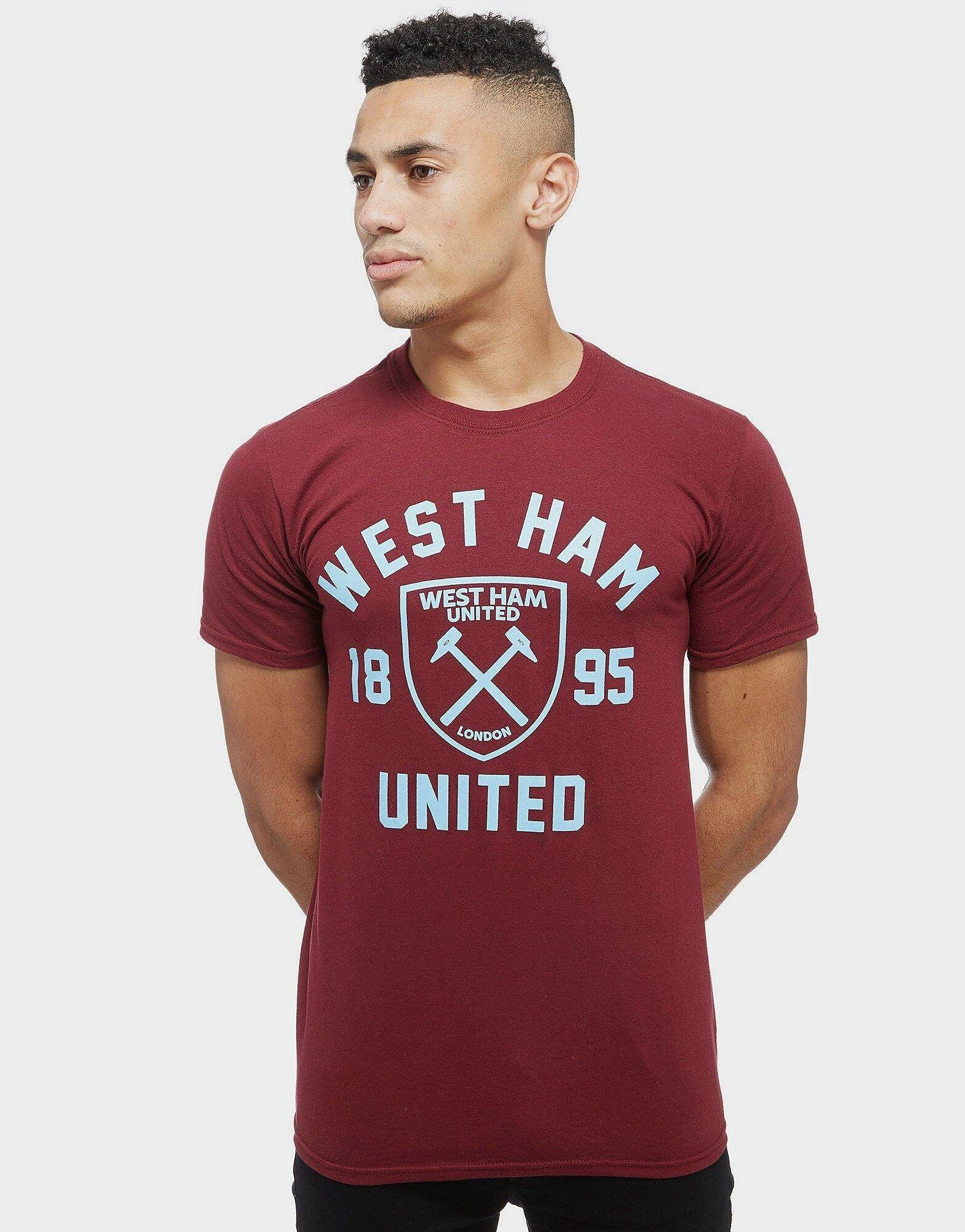 Official Team West Ham United Club Crest T-Paita - Mens, Claret/Blue