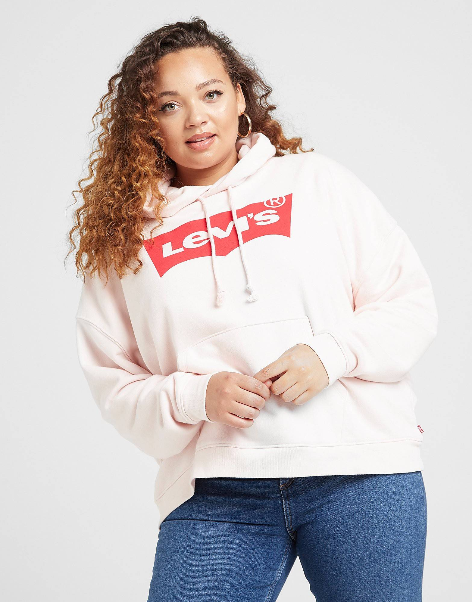 Levis Batwing Logo Plus Size Hoodie - Womens, Vaaleanpunainen  - Vaaleanpunainen - Size: Extra Large