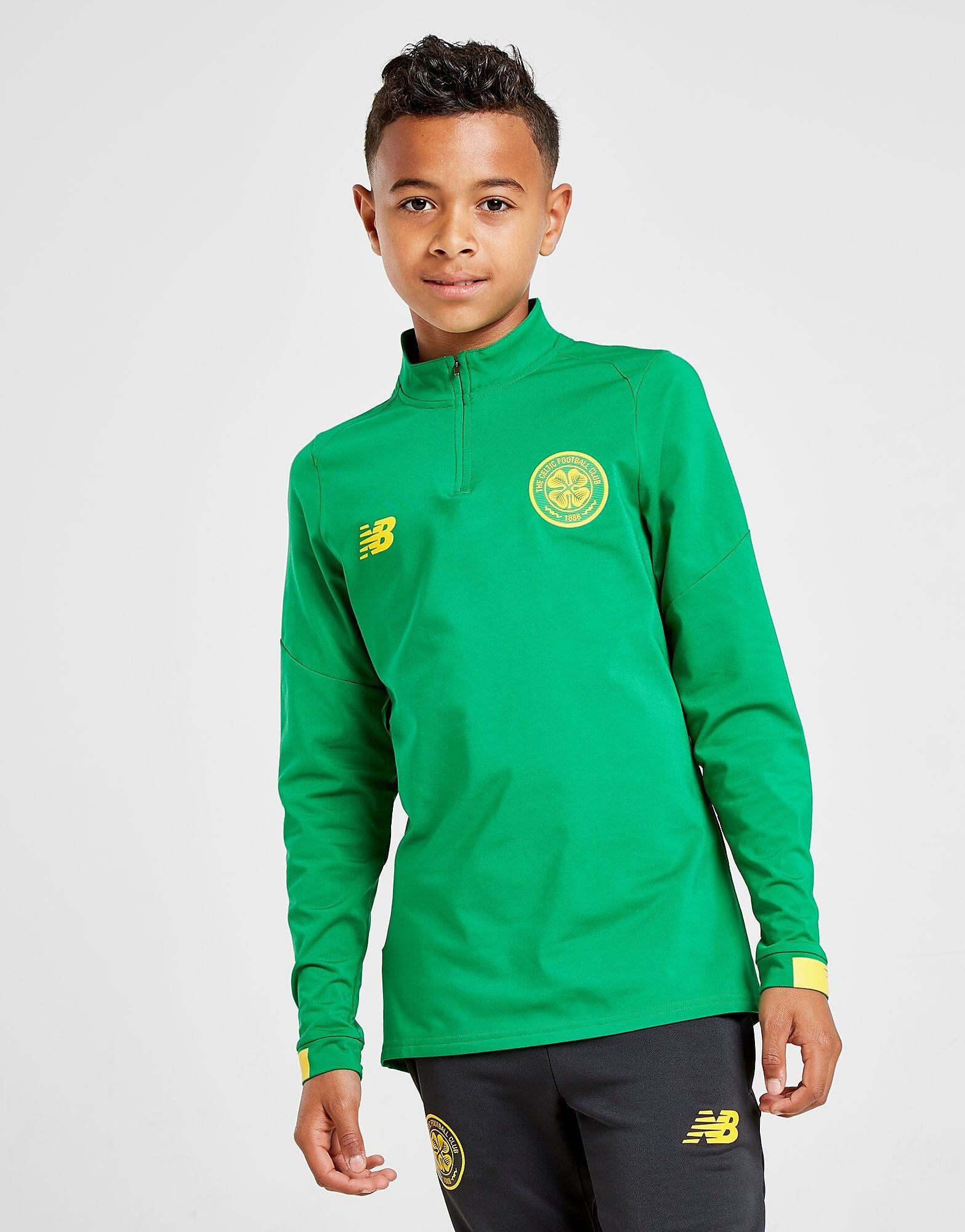 Image of New Balance Celtic FC Long Sleeve 1/2 Zip Top Junior - Kids, Vihreä