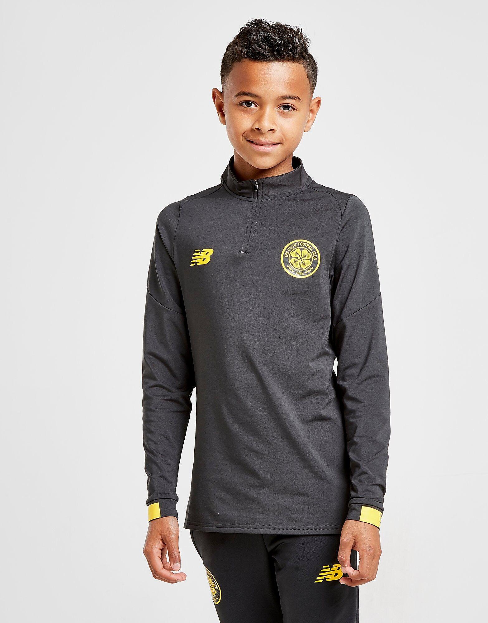 Image of New Balance Celtic FC Long Sleeve 1/2 Zip Top Junior - Kids, Musta