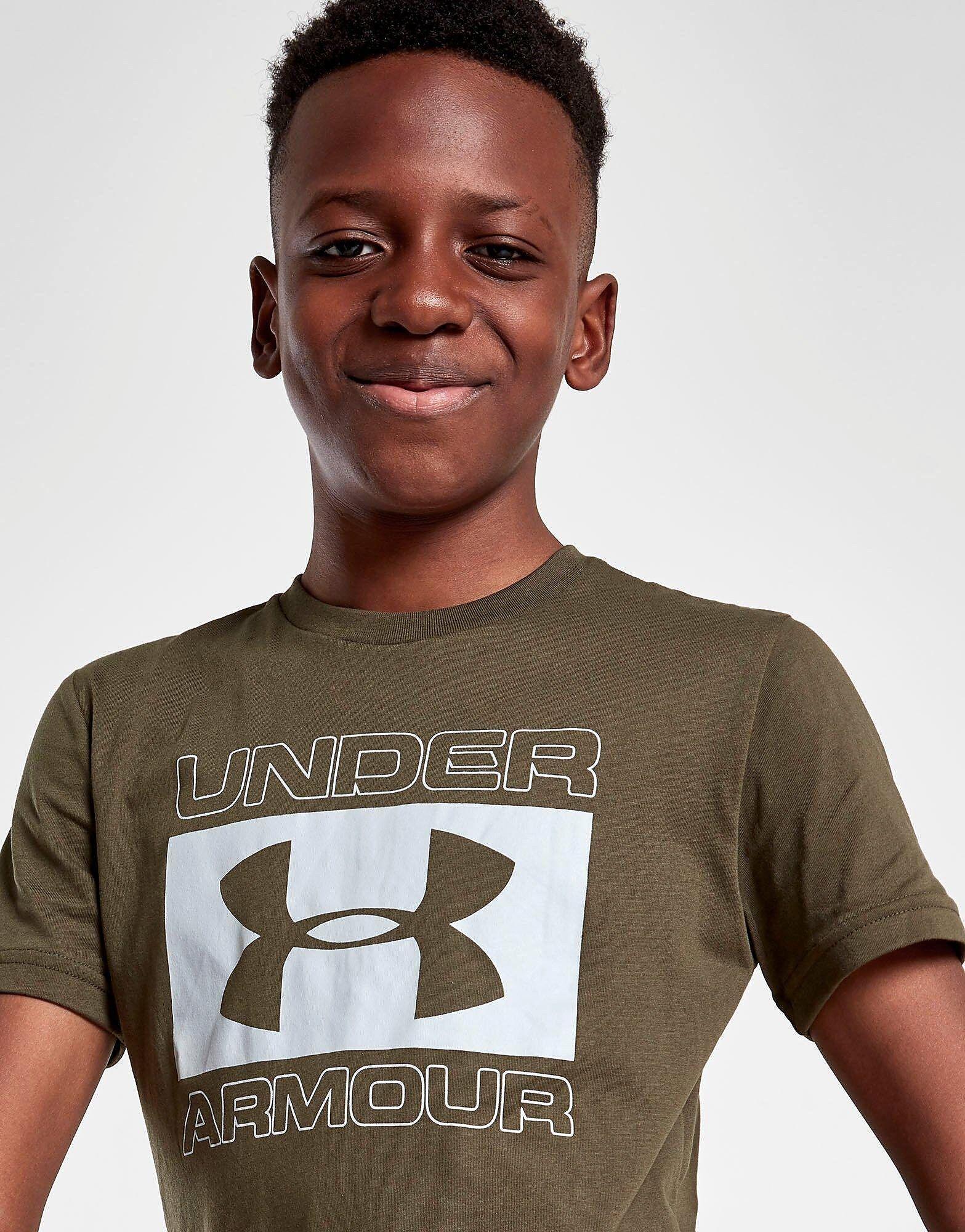 Under Armour Brand Stack T-Paita Juniorit - Only at JD - Kids, Vihreä  - Vihreä - Size: 6-7Y