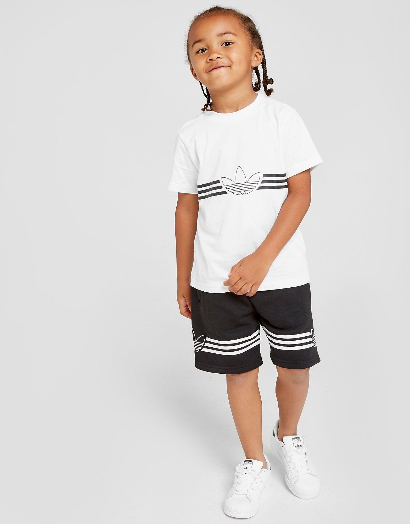 Image of Adidas Originals Outline T-paita/Shortsit Setti Lapset - Kids, Valkoinen