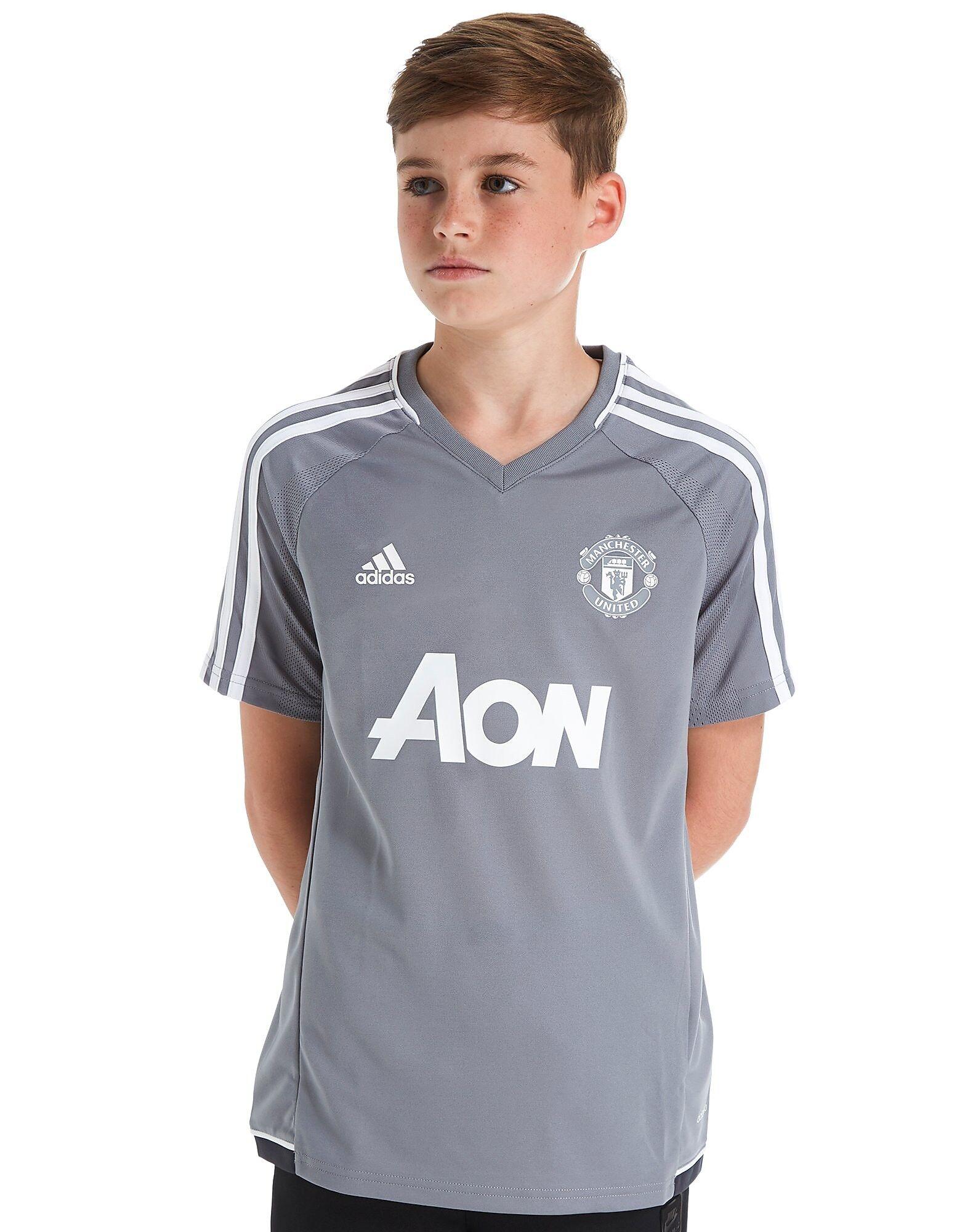 Image of Adidas Manchester United 2017 Training Shirt Junior - Kids, Harmaa