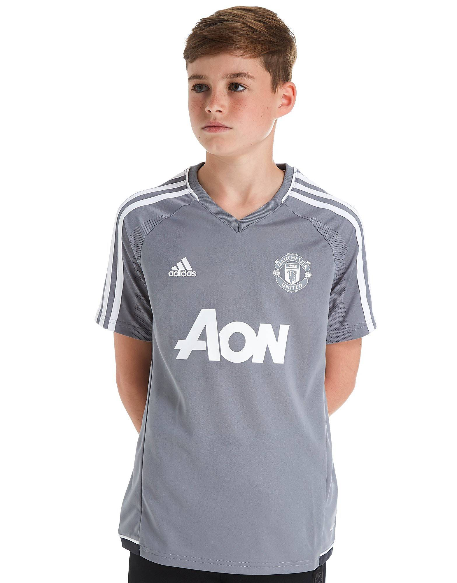 Image of Adidas Manchester United 2017 Training Shirt Junior - Kids, Harmaa