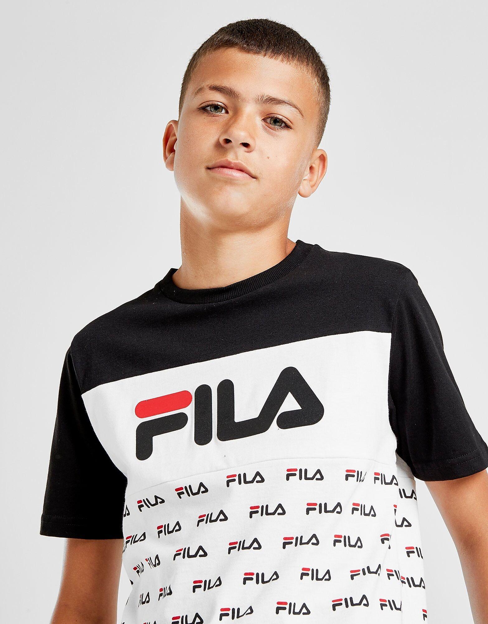 Fila Zachy All Over Print T-Paita Juniorit - Kids, Musta