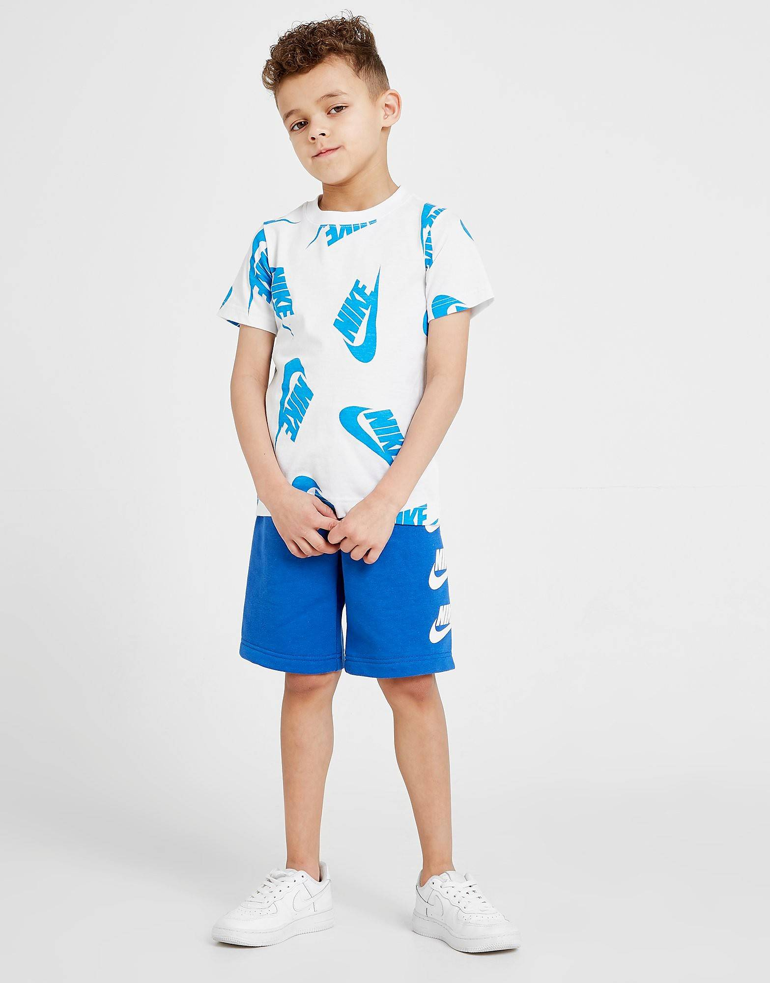 Image of Nike All Over Print T-Shirt/Shorts Set Children - Only at JD - Kids, Valkoinen
