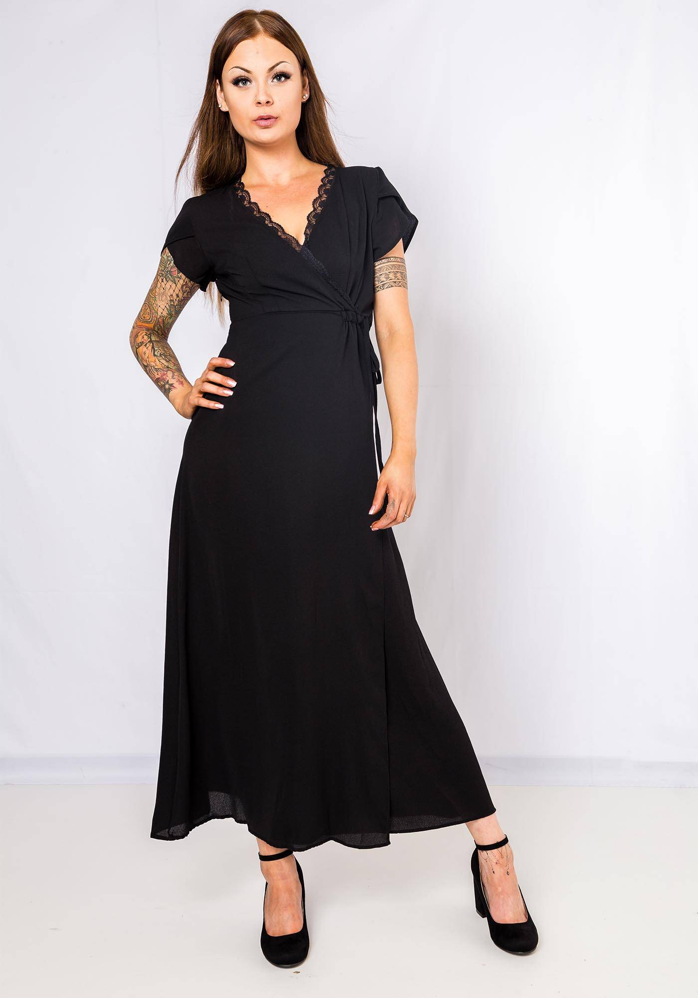 Image of Jubylee Maxi Dress Lace Detail In Black