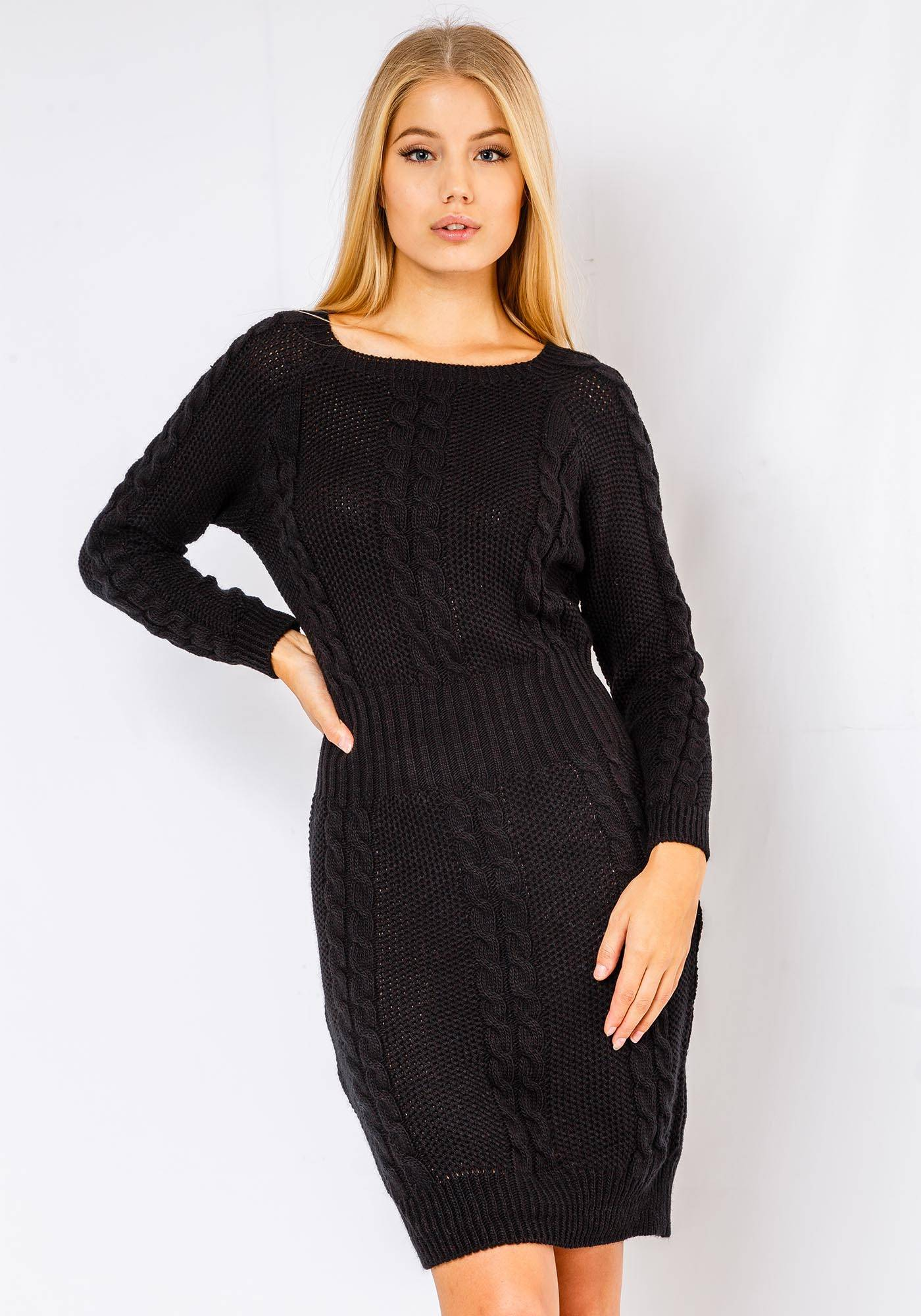 Image of Fiorellashop Alena Long Sleeve Cable Knitted Dress In Black