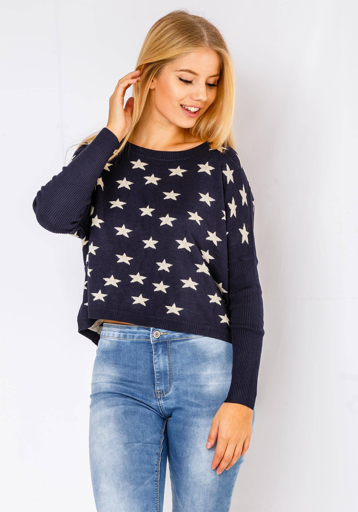 Parta Fortuna Comfy Star Sweater In Navy