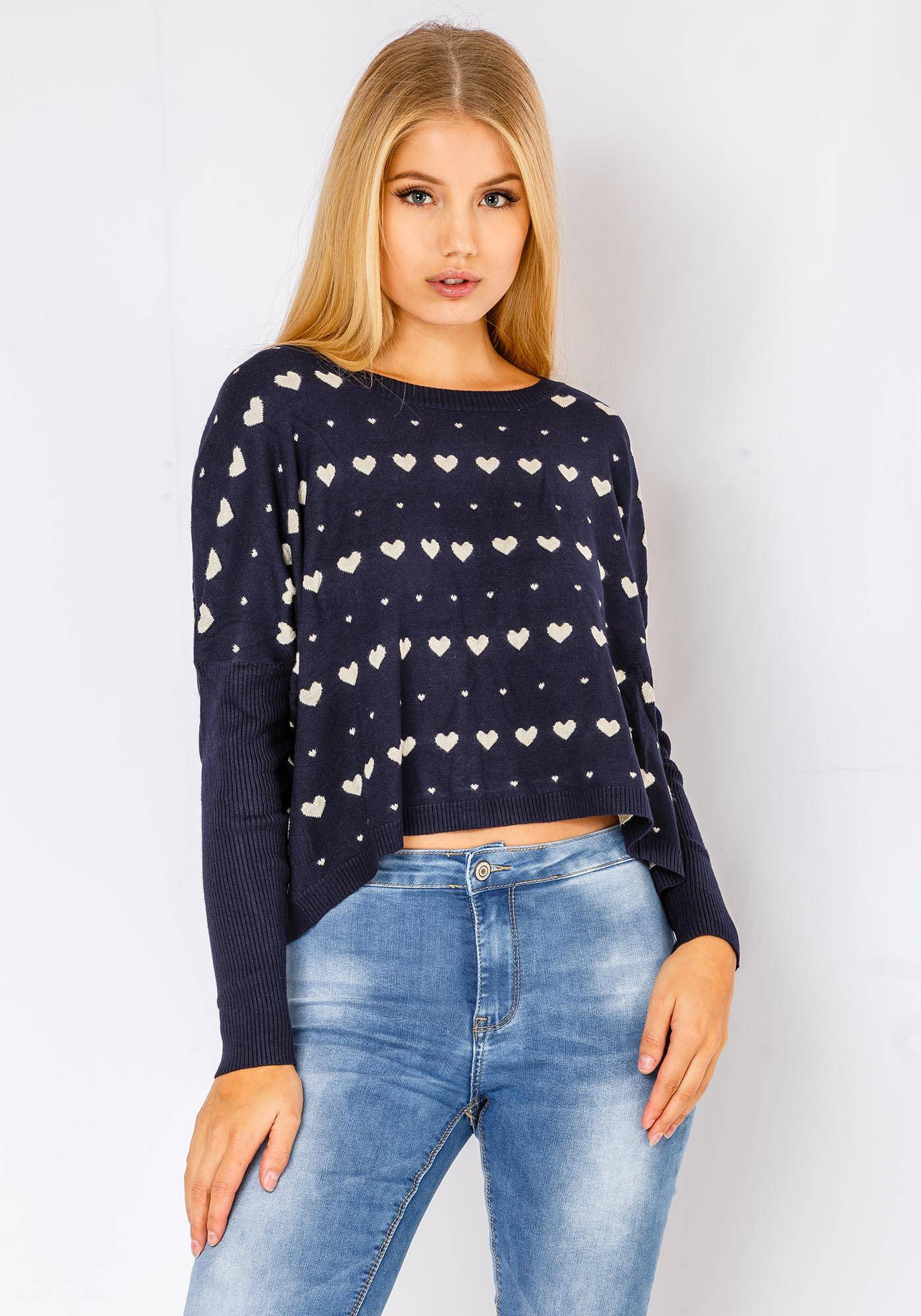 Parta Fortuna Comfy Heart Sweater In Navy
