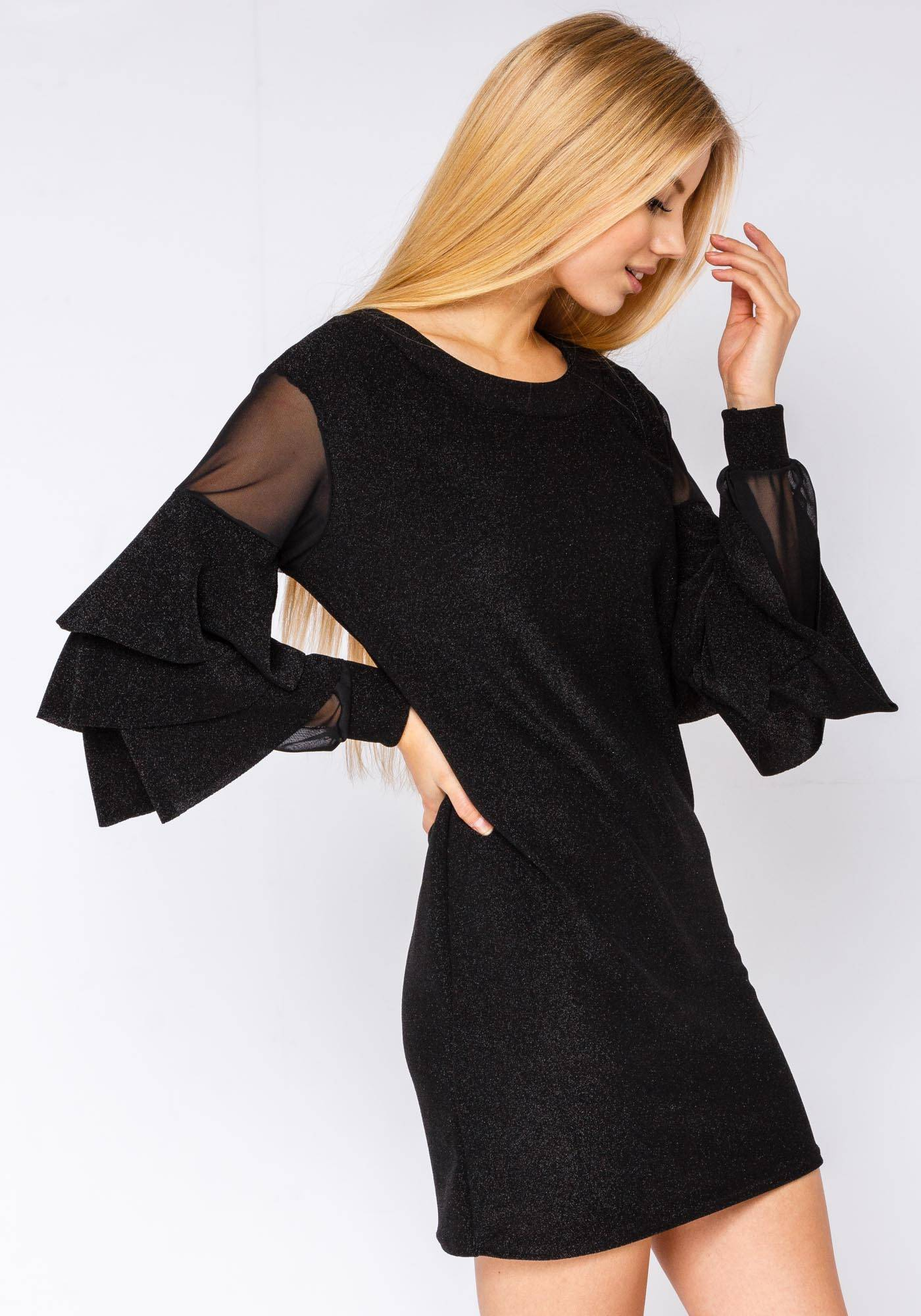 Image of Fiorellashop Glitter Holiday Dress With Frill Sleeve In Black