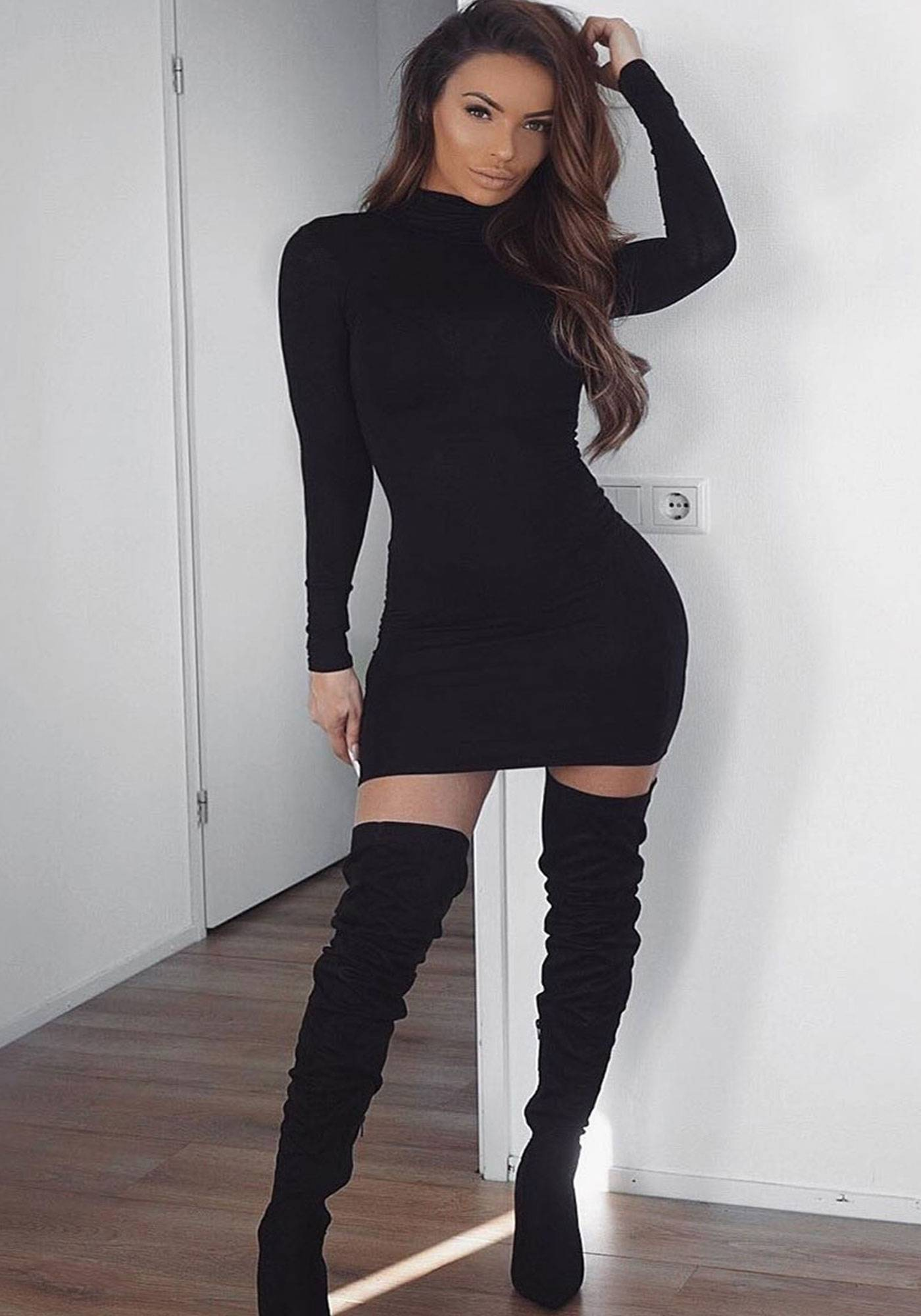 Image of Parisian High Neck Long Sleeve Bodycon Mini Dress In Black