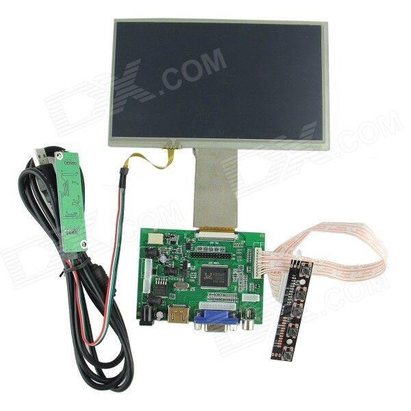 """7"""" Digital Touch Screen + Drive Board (HDMI + VGA + 2AV) for Raspberry / Pcduino / Cubieboard"""