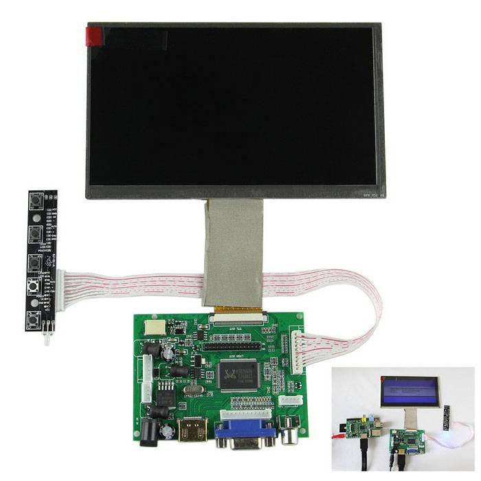 """7"""" Digital LCD Screen + Drive Board (HDMI + VGA + 2AV) for Raspberry Pi / Pcduino / Cubieboard"""