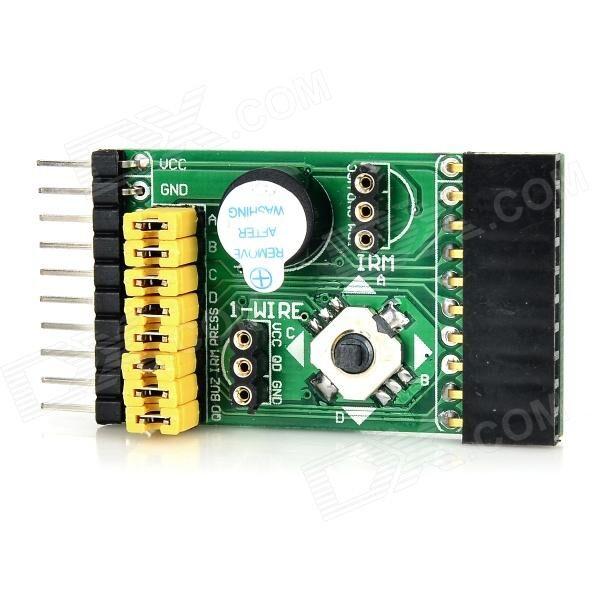 Waveshare 4-in-1 IR Receiver + Temperature Sensor + 5-way Rocker + Buzzer Module for Raspberry Pi