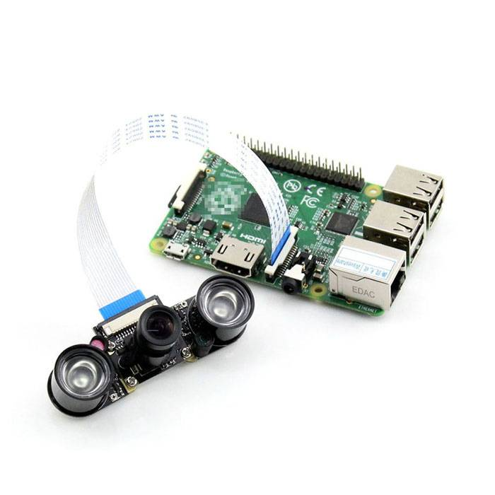 Waveshare Zooming Night Vision Camera Board for Raspberry Pi - Green + Multicolored