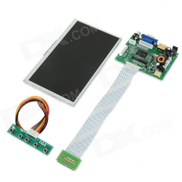 """FineSource 7"""" 800 x 480 Digital TFT LCD Screen + Driver Board for Banana Pi / Raspberry Pi - Black"""