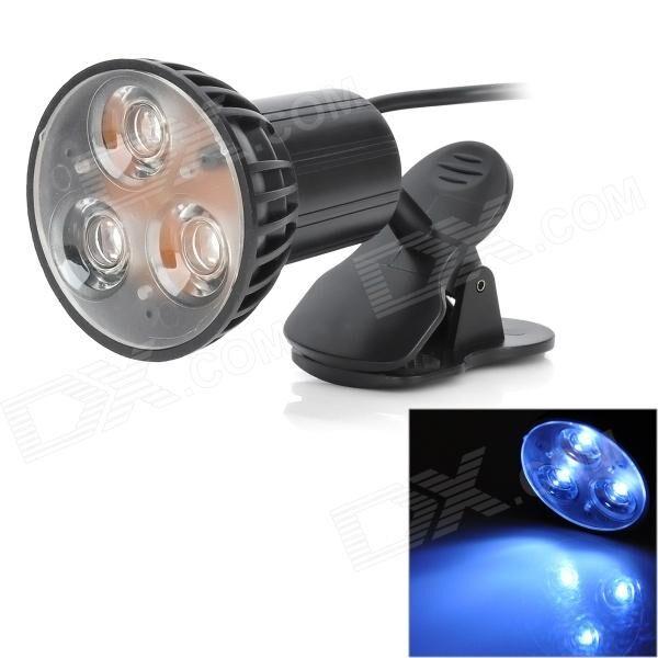 Portable 1W 150lm 3-LED White Light Clip-On USB Lamp - Black (DC 5V / 115cm-Cable)