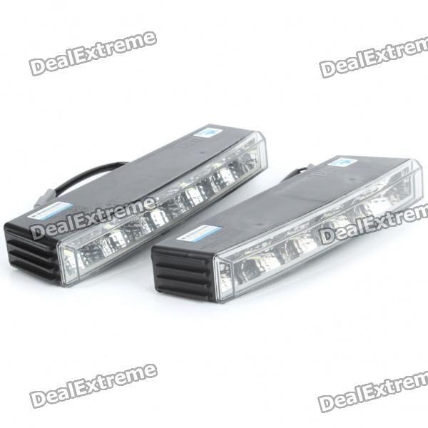 2W 6000K 150-Lumen 10x5050 SMD LED White Light Daytime Running Lamps for Car (Pair/DC 12V)