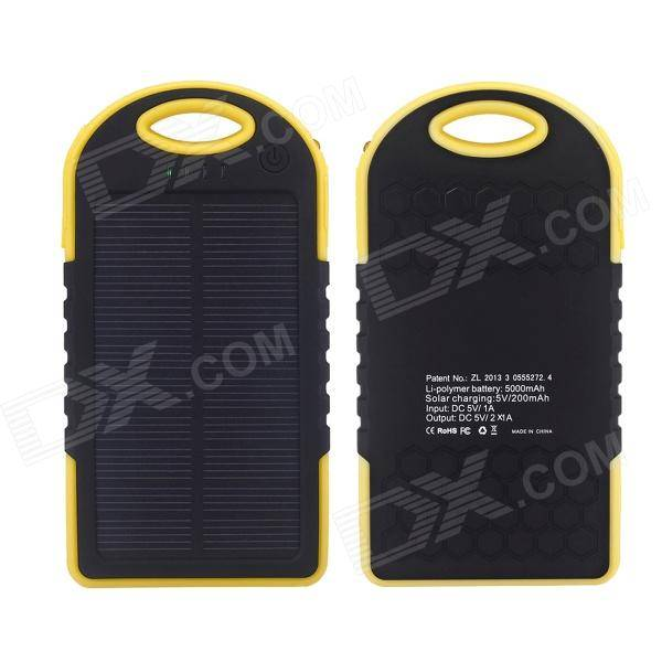 Apple SP5000 Universal Rainproof Shockproof 4000mAh Solar Li-ion Battery Power Bank - Black + Yellow