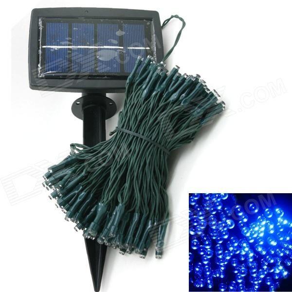 Solar Powered 0.64W 10lm 200-LED Blue Light Garden Christmas Party String Fairy Light - Blue (20.5m)