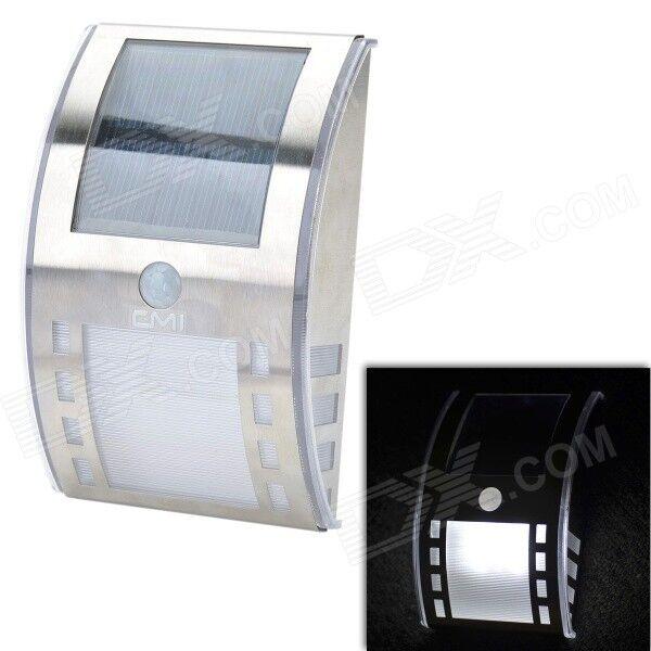 CMI 5W 40lm 6000K 3-LED White Light Control + Human Body Sensor Solar Wall Lamp - Silver (12V)