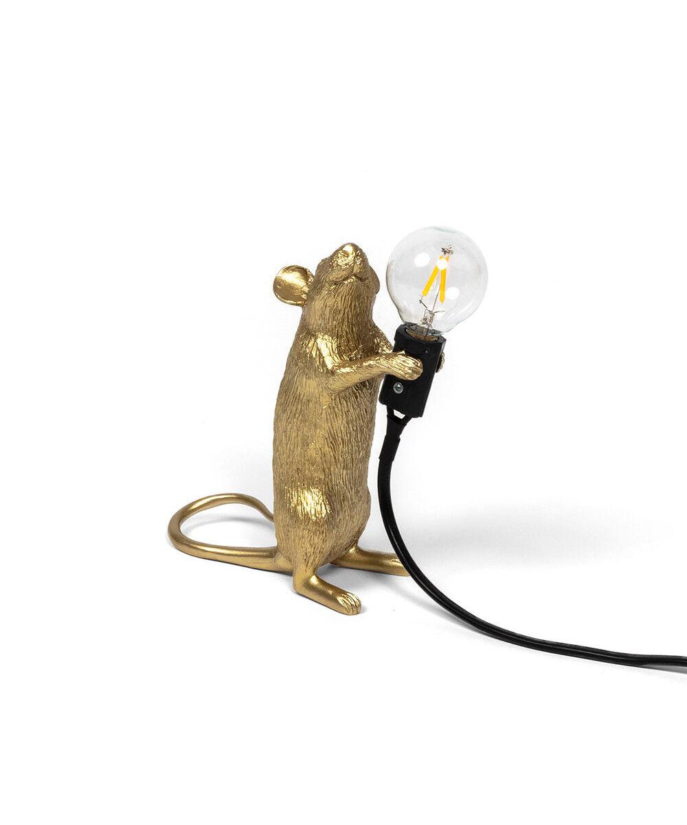 Seletti Mouse Lamp Step Standing Pöytävalaisin Kulta - Seletti