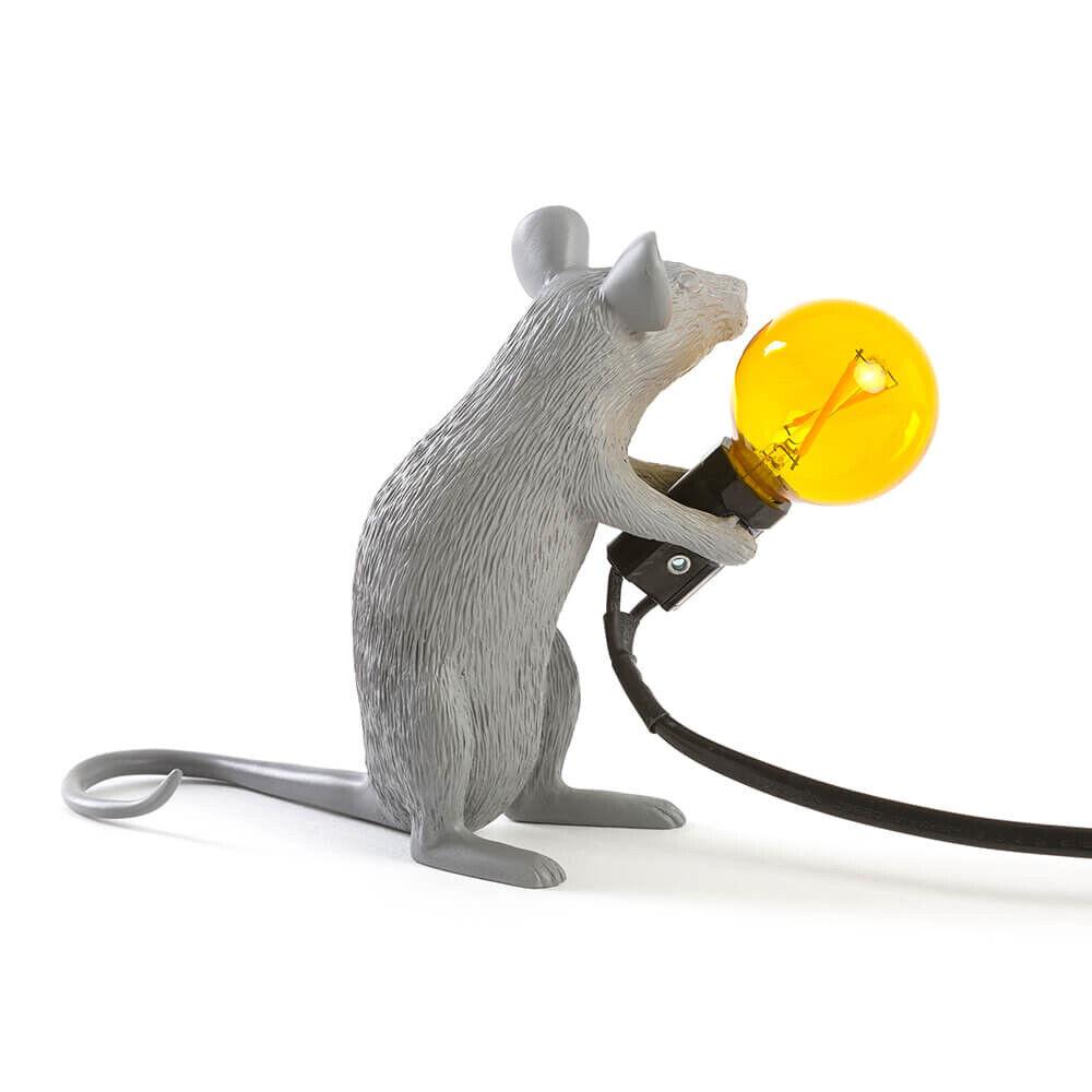 Seletti Mouse Lamp #2 Sitting Harmaa Pöytävalaisin - Seletti