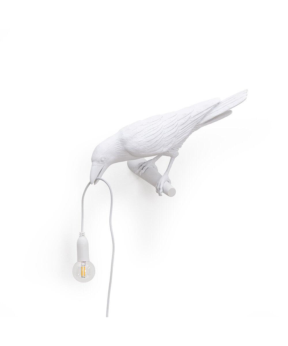 Bird Lamp Looking Left Ulko Seinävalaisin Valkoinen -Seletti