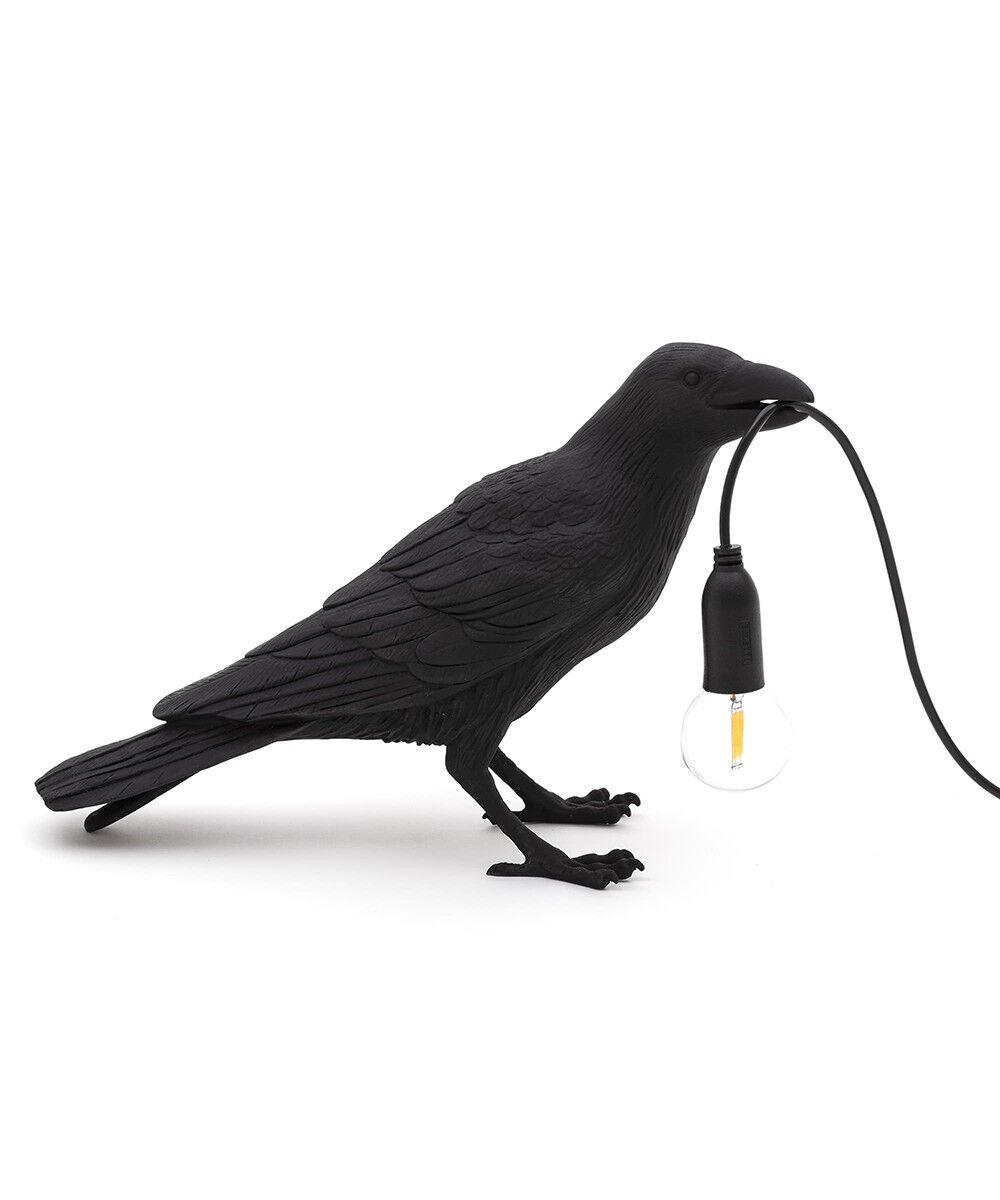 Seletti Bird Lamp Waiting Pöytävalaisin Musta - Seletti