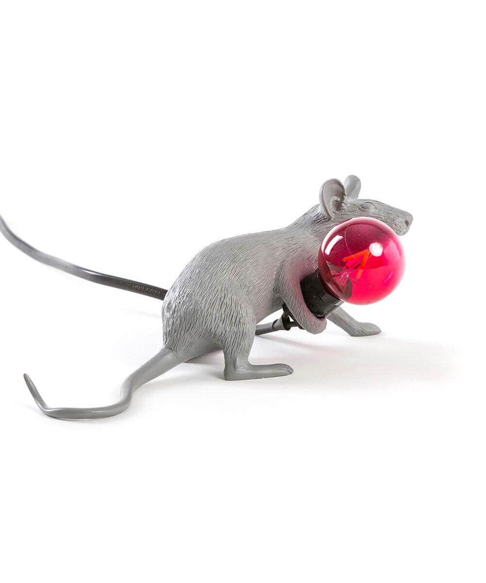 Seletti Mouse Lamp #3 Lie Down Harmaa Pöytävalaisin - Seletti