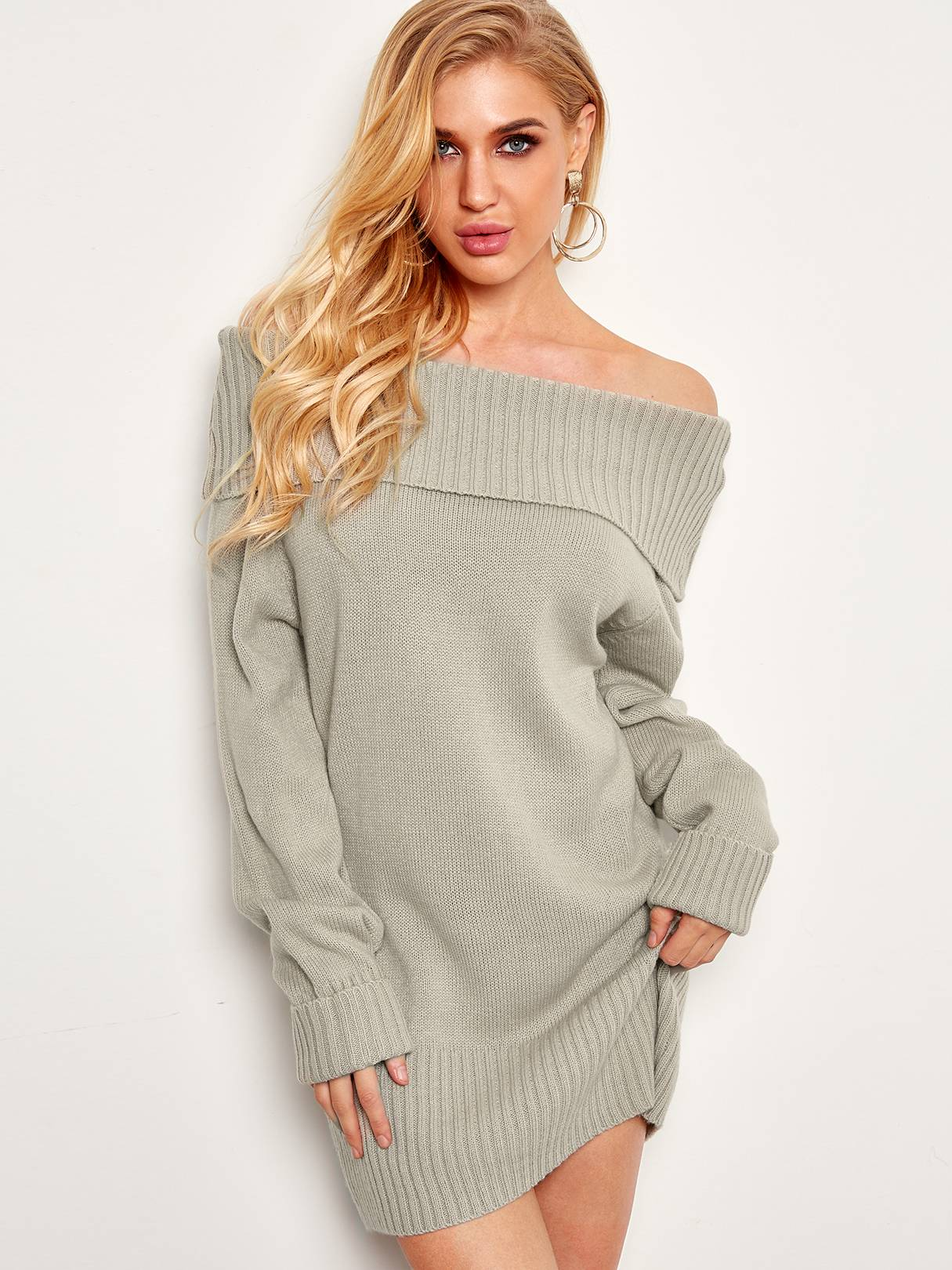 Image of Yoins Grey Off The Shoulder Long Sleeves Sweater Dress