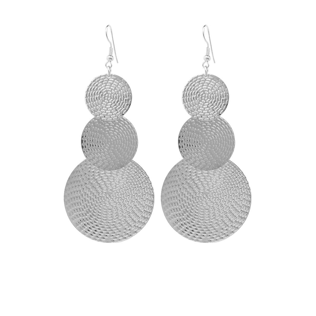 Yoins Silver Exaggerated Discs Metal Earrings  - women - Silver - Size: One Size