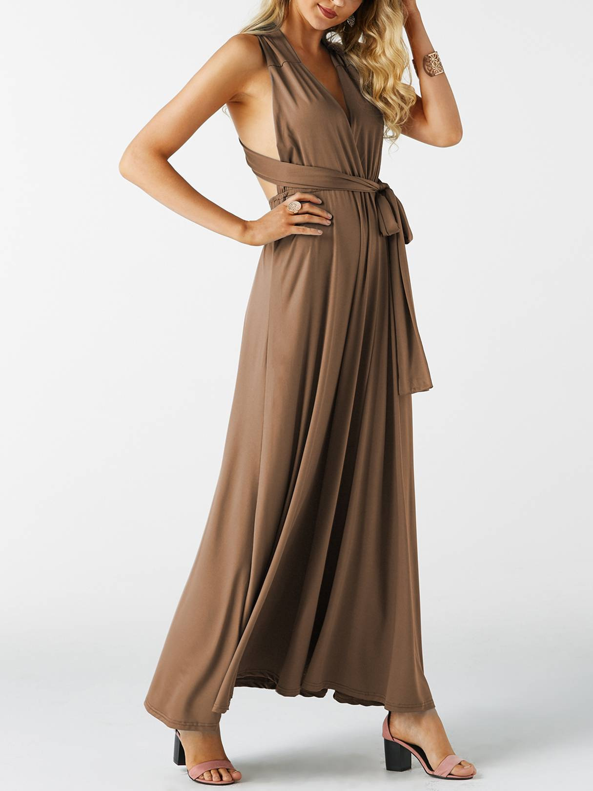 Image of Yoins Brown Multi-way Lace-up Design Long Sexy Party Dress