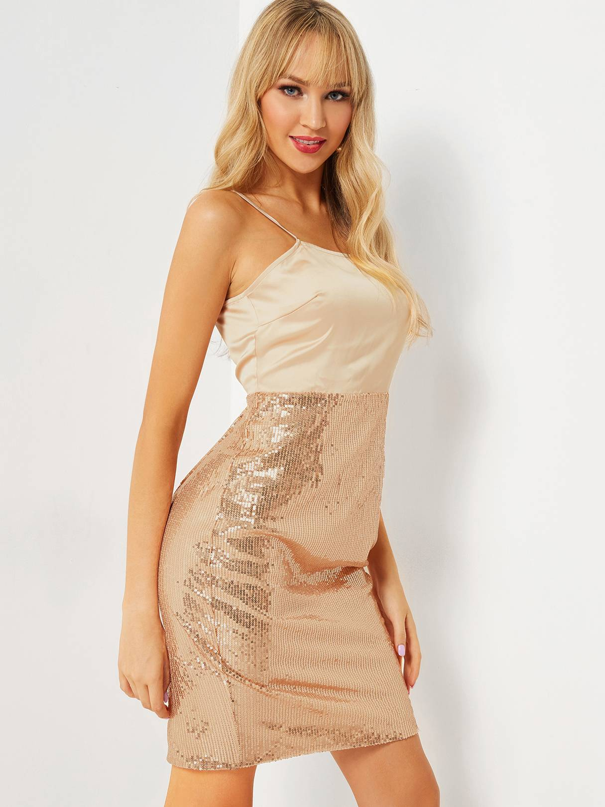 Image of Yoins Apricot Spaghetti Straps Sequins Embellished Dress