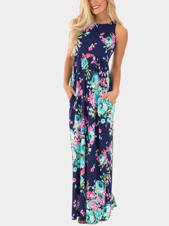 Image of Yoins Navy Sleevesless Random Floral Print Maxi Dress  - women - Size: Small