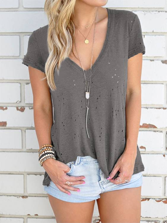 Yoins V-neck Hollow Out Short Sleeves T-shirts in Light Grey