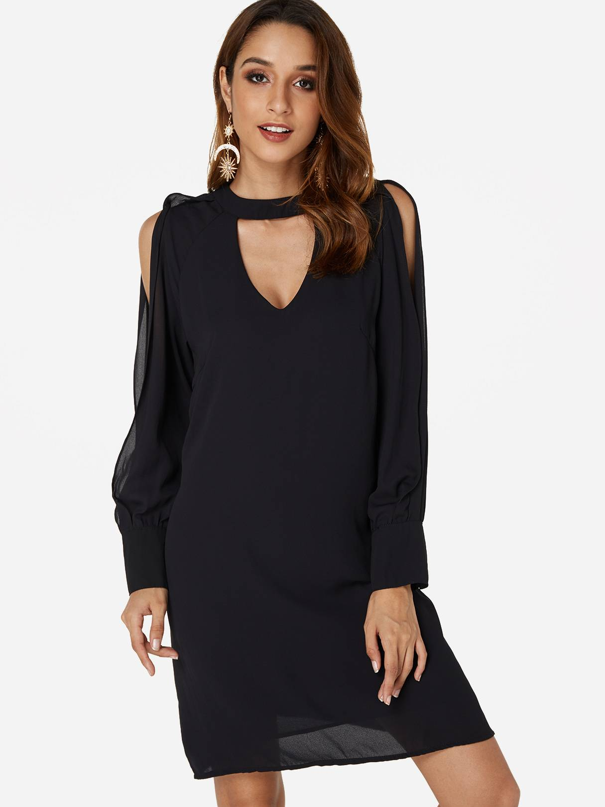 Image of Yoins Black V-neck Cold Shoulder Long Sleeves Chiffon Dress  - women - Black - Size: Extra Small