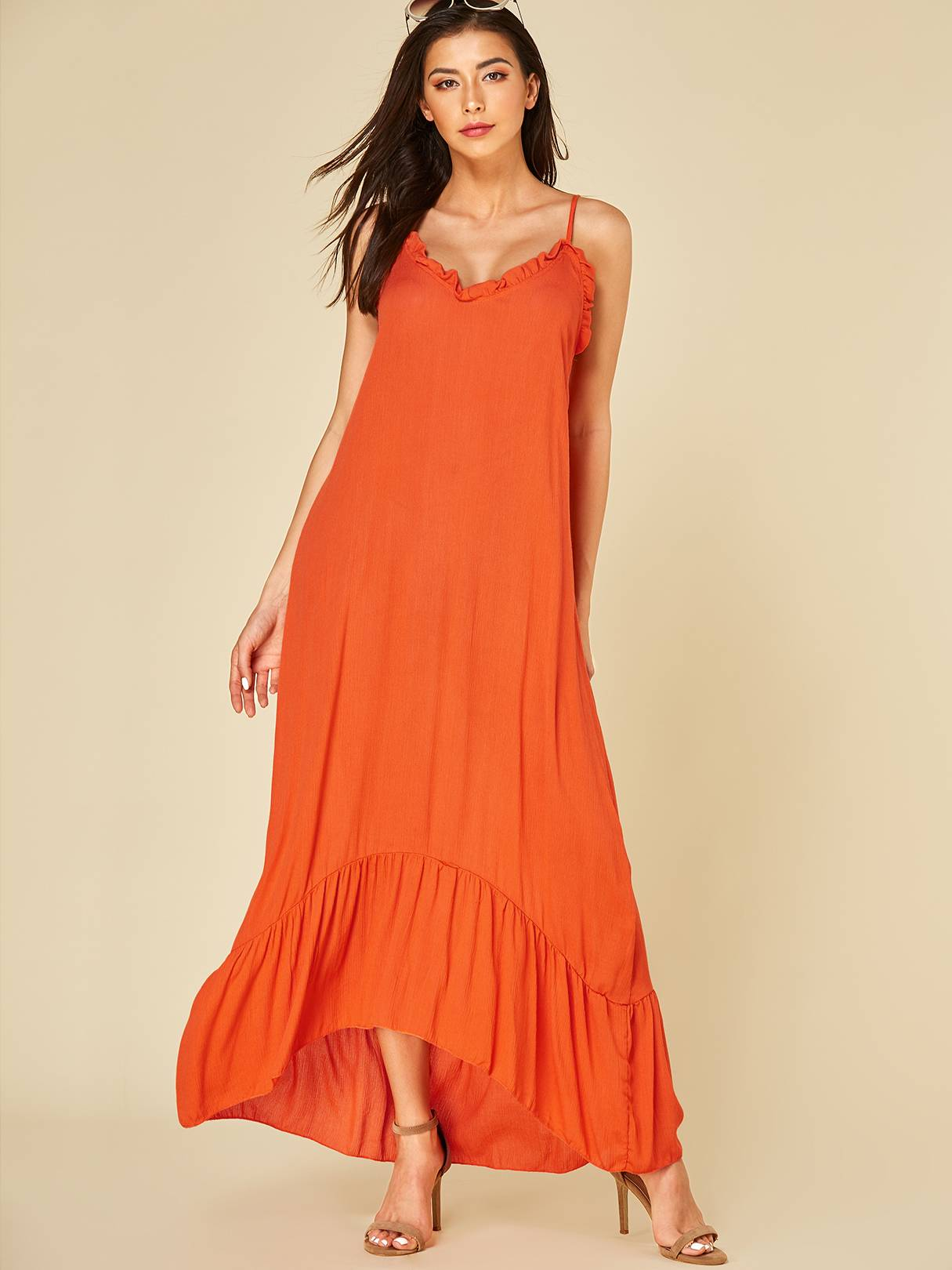 Image of Yoins Orange Backless Design V-neck Sleeveless Dress