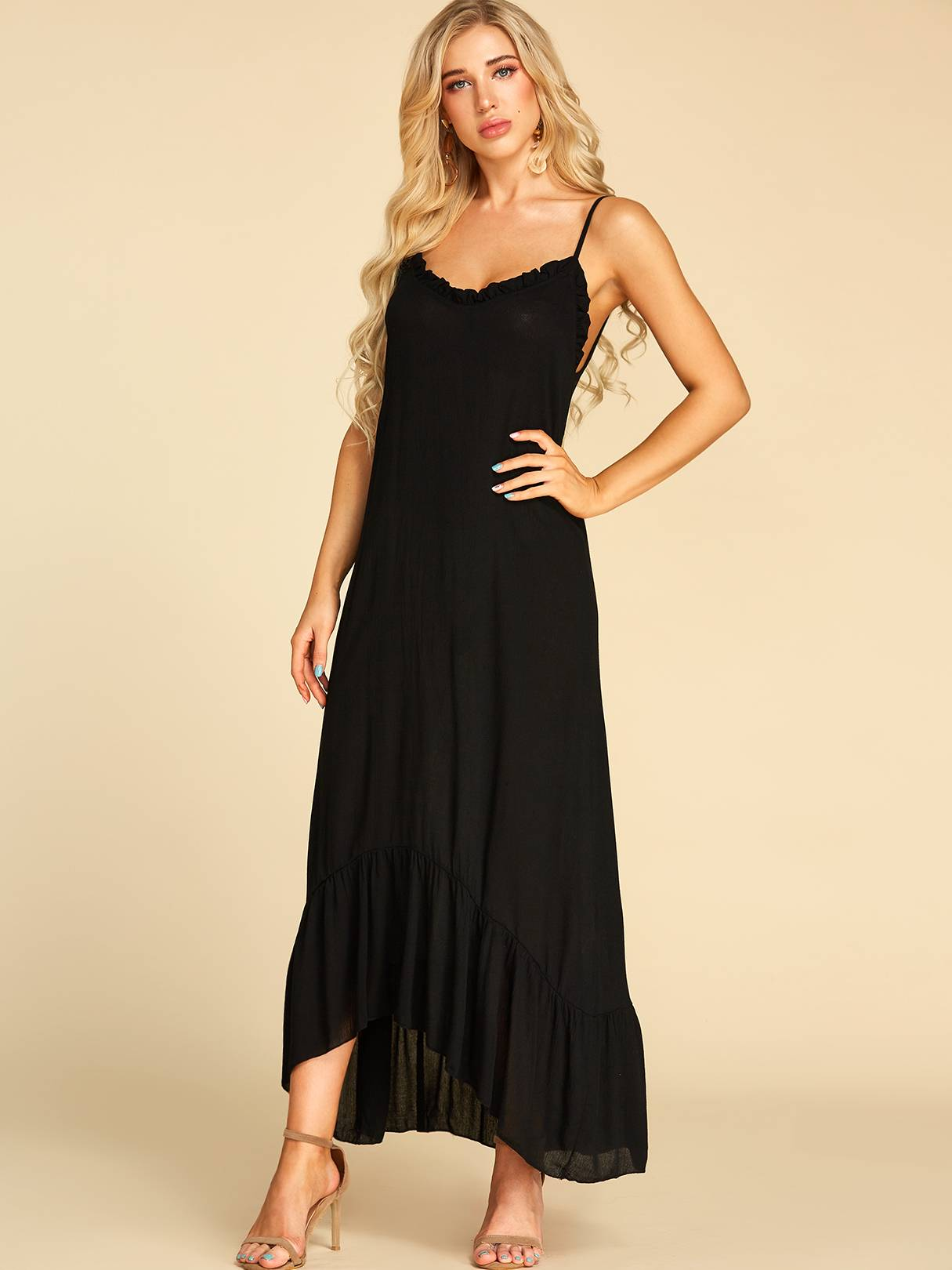 Image of Yoins Black Ruffle Trim V-neck Sleeveless Dress