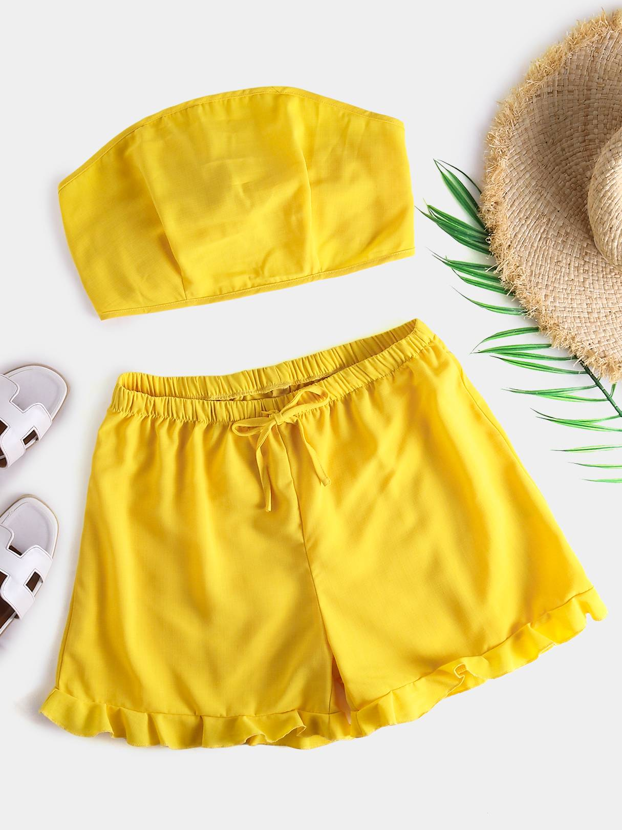 Image of Yoins Yellow Knotted Tube Top & Drawstring Waist Shorts Co-ord