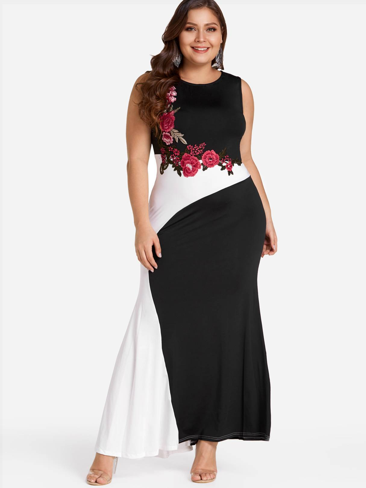Image of Yoins Plus Size Color Block Embroidered Maxi Dress