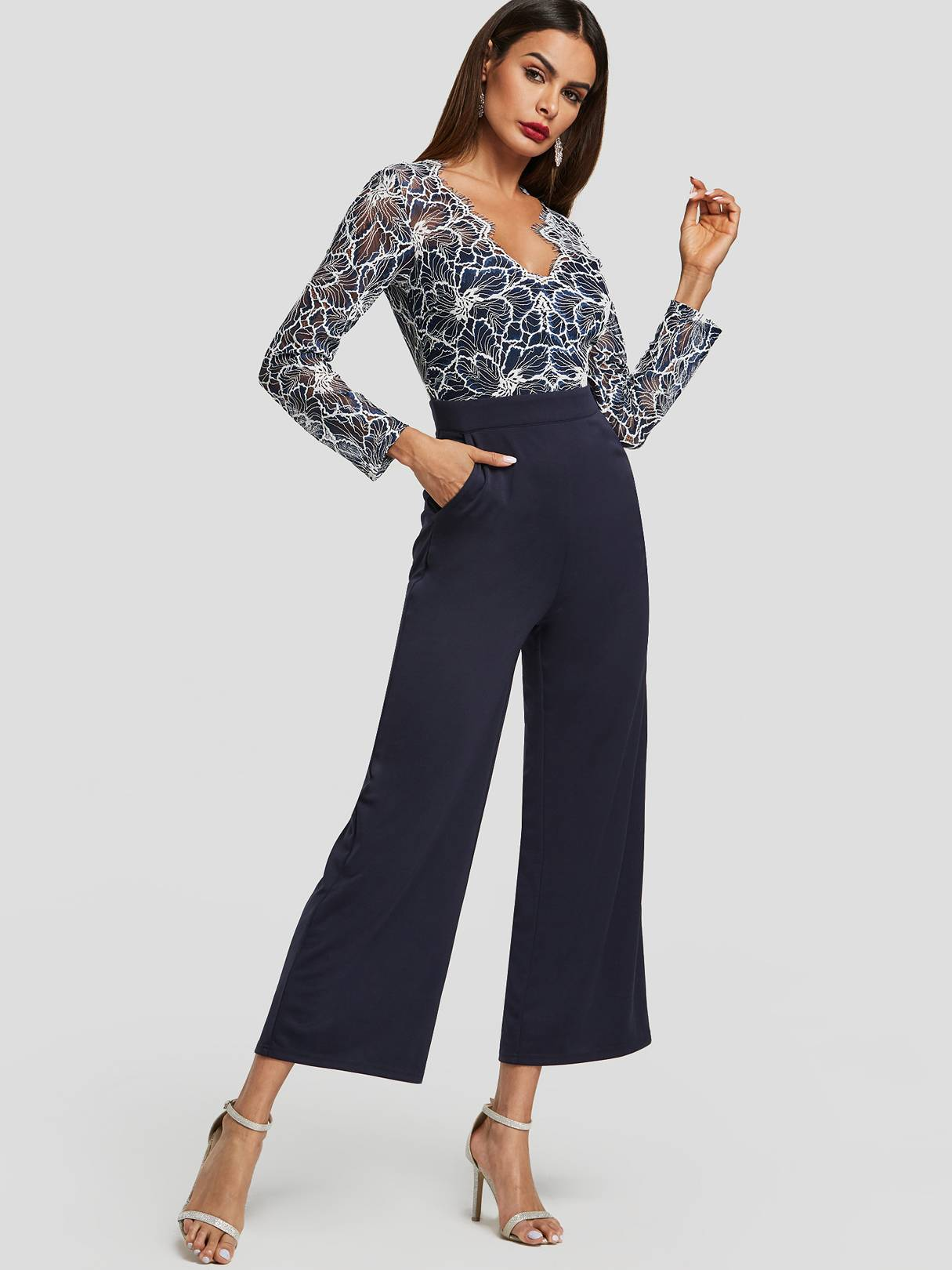 Image of Yoins Navy Crochet Lace Embellished High-Waisted Wide Leg Jumpsuits